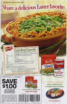 The original Green Bean Casserole recipe ~ According to Wikipedia, this recipe was created in 1955 by the Campbell Soup Company. Green Bean Casserole For Thanksgiving or Christmas! Retro Recipes, Side Recipes, Bean Recipes, Vintage Recipes, Picnic Recipes, Dinner Recipes, Greenbean Casserole Recipe, Casserole Recipes, Onion Casserole