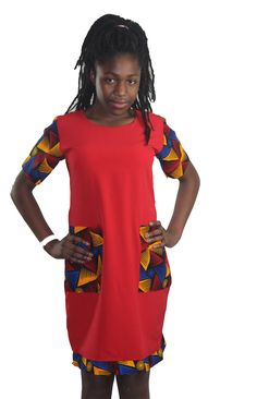 Girls shift dress with two ankara front pockets