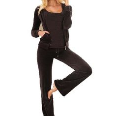 Women's Athletic Clothing Sets - Velour Classic Hoodie Sweat Suit Jacket and Pants Set Velvet Tracksuit with Pockets * Click image to review more details.