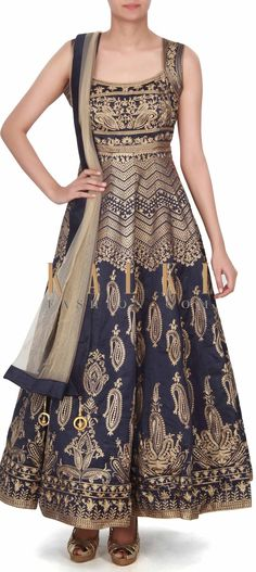Buy this Navy blue anarkali suit adorn in paisley motif embroidery only on Kalki