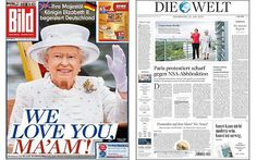 Queen Elizabeth II on Front covers of Bild & Die Welt for Thursday June 25, 2015