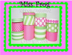 24 Yds MISS FROG  wholesale grosgrain ribbon by ribbonunlimited, $11.99