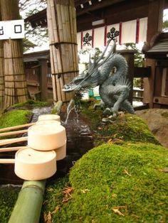 What to do at a Japanese Shinto Shrine (Jinja)…..A temizuya at a shrine in Nagano, Japan