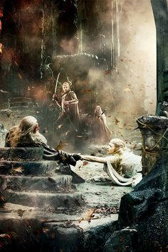 Close-up of a section of the new Hobbit: The Battle of the Five Armies banner poster