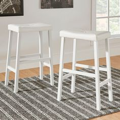 Tribecca Home Nova Saddle Cushioned Stools (Set of 2) (2