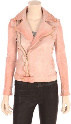 I love this pink leather jacket.