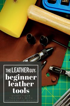 Just starting out in leather working but not sure what you need to begin? Check out our short and sweet (and inexpensive) list of basic tools, perfect for those that are experimenting with a new medium! Diy Leather Tools, Leather Craft Kits, Diy Leather Projects, Leather Diy Crafts, Sewing Leather, Stitching Leather, Leather Tooling, Leather Bags, Leather Jewelry