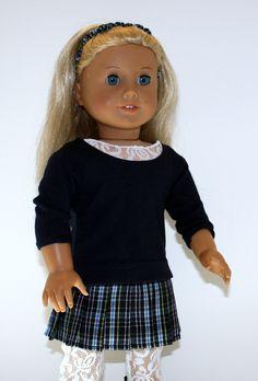 Plaid Pleated Skirt Navy Long Sleeve T Shirt White Lace Insert  White Lace Leggings Black Boots Headband for American Girl Doll. via Etsy.
