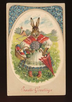 Cute Easter Greetings ~Dressed Mama Bunny Rabbit ~Antique Postcard -kkk665 #Easter