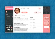Profile page design for dating website found on Dribbble.