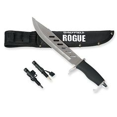 SHEFFIELD Rogue Fixed Blade Hunting Knife W/ Bonus Sheath Firestarter Sharpener * See this great product. Fixed Blade Hunting Knives, Best Hunting Knives, Hunting Gear, Tactical Bag, Tactical Knives, Throwing Axe, Knife Storage, Combat Knives, Thing 1