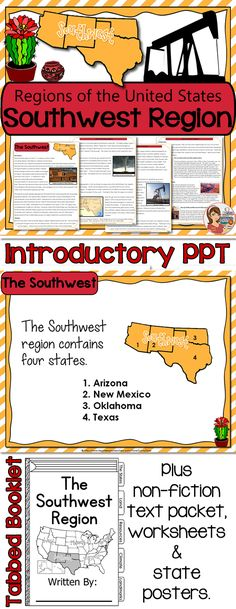 The Southwest Region (5 regions of the United States) - Several fun & educational items in this resource.
