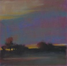 "field at dusk by Loriann Signori Pastel ~ 6"" x 6"""