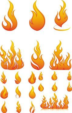 """Flames and fire elements vector. 3 sets with different vector flames and vector fire elements for your """"hot"""" designs. Format: EPS stock vector clip art. Free for download. Theme: vector fire, vector flame, fire elements."""