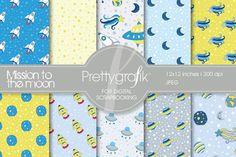 space digital paper, commercial use by Prettygrafik Design on @creativemarket