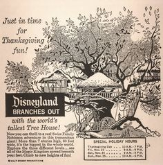 """1962 LA Times ad for Disneyland's Swiss Family Robinson, now (tragically) rebranded as """"Tarzan's Treehouse"""" (though a version with the original livery lives on at Walt Disney World, Florida)."""