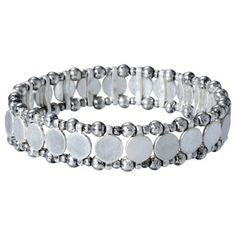 Disks and Beads Flat Stretch Bracelet - Silver
