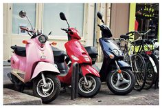 Vespa photo pink Vespa Paris scooters in a row  by SonjaCaldwell