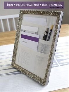 Genius Crafty Ideas- Turn a picture frame into a desk organizer. What a great easy Christmas present!