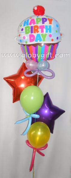 Bouquet de globos: cupcake y estrellas