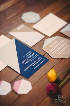 Geometric Modern Wedding Invitation by Fourteen-Forty Floral & Event Design by Tinsel & Twine | Hanging Installations by Michelle Bablo | Photography by JBM Wedding Photography #geometric #rusticwedding #fourteenforty #colorblock www.1440nyc.com/kings-county-distillery