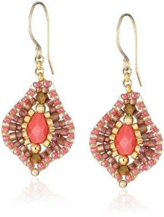 Miguel Ases Small Raspberry Quartz Lotus Drop Earrings on shopstyle.com