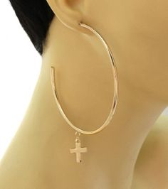 Trendy new hoops with drop crosses.  Bad Ass!  #jewelry #accessories #dope #fashion #trendsetter #fashionista