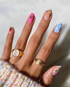 Minimalist Nails, Nail Swag, Hair And Nails, My Nails, Bling Nails, Fire Nails, Cute Acrylic Nails, Pastel Nails, Colorful Nails