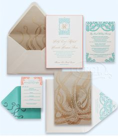 Luxury Wedding Invitations by Ceci New York - Our Muse - Tropical Hawaiian Wedding - Be inspired by Kelly & Kaniela's tropical, vintage Hawa...