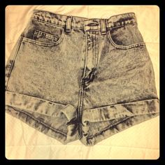 Acid Wash High-Waist Jean Cuff shorts Brand new! Never been worn! Size 26 American Apparel grey denim high-waisted shorts. The bottoms are cuffed. Retails at 58.00 plus shipping. SOOOOO CUTE!! No trades please. American Apparel Shorts Jean Shorts