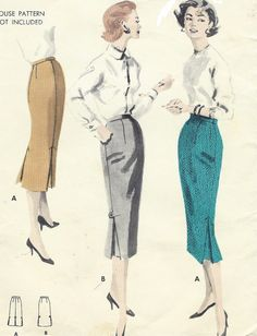 1950s Womens Wiggle Skirt Slender Skirt with Kick by CloesCloset