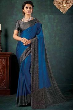 Royal Blue chiffon saree with dark grey satin blouse. Embellished with embroidery. Saree with Sweetheart Neckline, Short Sleeve. It comes with unstitched blouse. Chiffon Saree, Silk Sarees, Royal Blue Color, Traditional Sarees, Blouse Online, Saree Collection, Saree Blouse, Designer Wear, Silk Satin