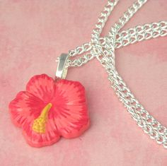 Hibiscus Charm Necklace - Pin Up - Rockabilly - 50's - Kitsch - Retro - Tiki by PlayBox on Etsy