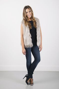 Rosette Faux Fur Vest by Cupcakes and Cashmere
