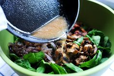 Ree Drummond / The Pioneer Woman Warm Spinach Salad Salad Dressing Recipes, Salad Recipes, Salad Dressings, Spinach Recipes, Skinny Recipes, Healthy Recipes, Healthy Food, Warm Bacon Dressing, Great Recipes