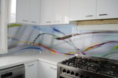 Abstract design created by Seein for printed glass splash back in kitchen