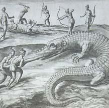 Exaggerated depiction of alligators