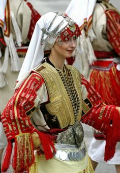 Traditional Macedonian folk dress for weddings from the village of Galicnik.