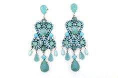 Turquoise Earrings Blue Glass and Crystal Chandelier Pierced by Frangos