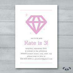 Diamond Birthday Party Invitation    Jewel by PandafunkCreations
