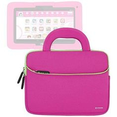 Evecase Kurio Xtreme Android Tablet Sleeve Ultra Portable Handle Carrying Portfolio Neoprene Sleeve Case Bag for Kurio Xtreme 7'' Kids Tablet PC (Toys R Us Released) - Hot Pink (Kurio Tablet and Bumper Case are not Included)