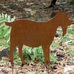 Rusty Finish Metal Goat Silhouette Garden Art Yard Stake