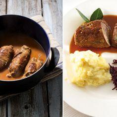 Rolada śląska wg Magdy Gessler + kluski śląskie z restauracji Modra pyza Slow Cooker, Sausage, Pork, Food And Drink, Beef, Kale Stir Fry, Meat, Sausages, Crock Pot