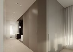 Cool cabinet faces + reveal pulls -- Flat interior design, soft loft @ warsaw by Tamizo Architects