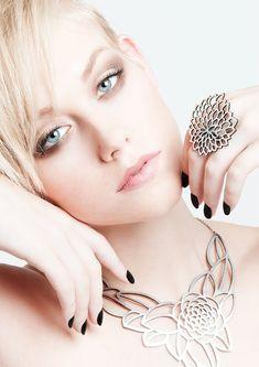 Camellia Silver statement necklace Laser cut by DouryAccessories
