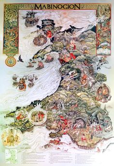 Amazing illustrated map of Wales features representations of the legendary tales from the Mabinogion, the basis for much of Welsh mythology including early legends of Merlin, Arthur and King Lyr. (Click the image to get a better look at the illustrations. There are descriptions at the bottom.)