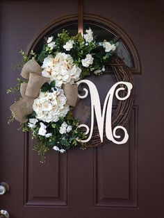 BEST SELLING Year Round Cream Hydrangea Wreath For Front Door   Grapevine  Wreath With Burlap And Initial   Monogram Everyday Wreath | Kitchen Ideas  ...