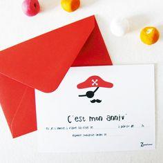 Lot de 5 invitations Pirate pour inviter ses plus chouettes ami(e)s à son anniversaire !Invitations 8x11 cmEnveloppes de couleur fournies.