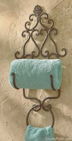 The Country Porch features the New Orleans Towel Holder with Ring from Park Designs. French Bathroom Decor, Tuscan Bathroom, Bath Decor, Iron Furniture, Home Decor Furniture, Diy Home Decor, Tuscan Decorating, Decorating Your Home, Tuscany Decor