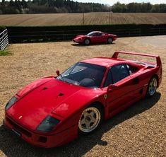 Ferrari F40 and a Ferrari 246 Dino both painted in Rosso Crosa  Photo taken by: @harveystanley on Instagram
